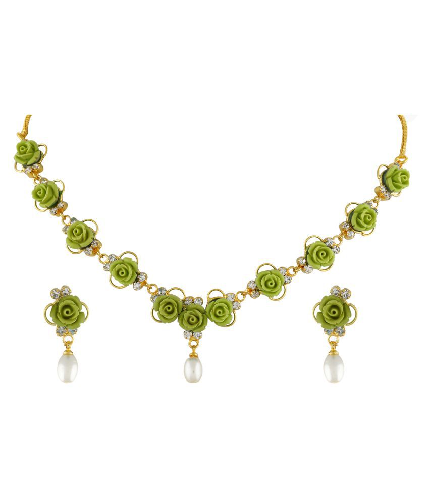 ClassiqueDesigner Jewellery Green Color Flower Necklace Set