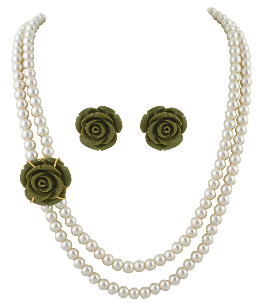 ClassiqueDesigner Jewellery Green Rose Pearl Set