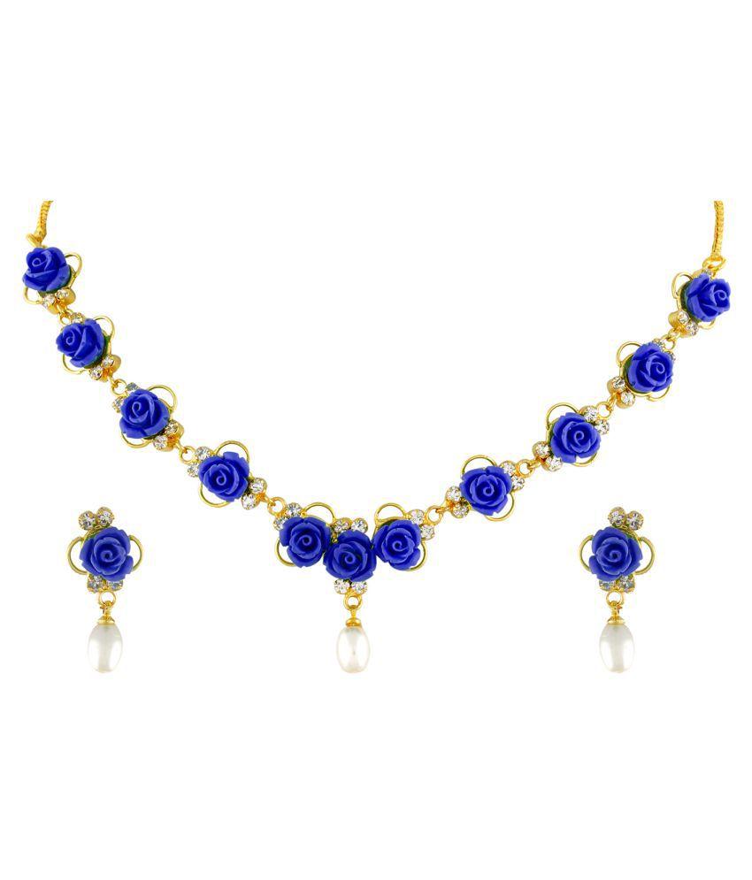 \nClassiqueDesigner Jewellery Blue Color Flower Necklace Set