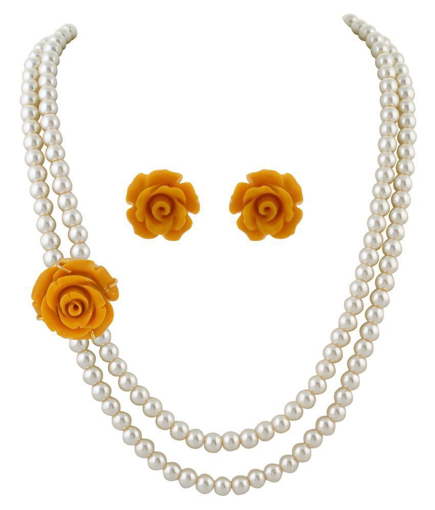 \nClassiqueDesigner Jewellery Yellow Rose Pearl Set