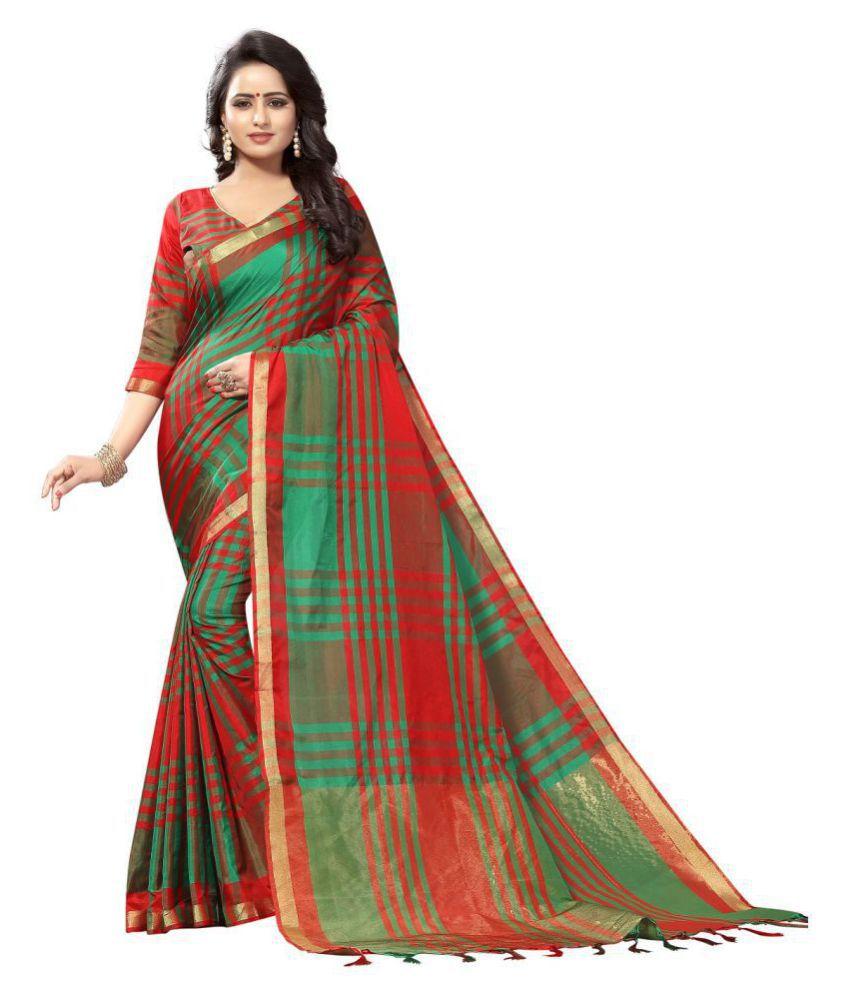 Pranshi Fashion Red Cotton Silk Saree