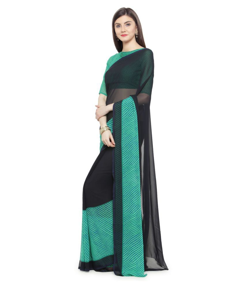 Shaily Retails Green and Black Georgette Saree