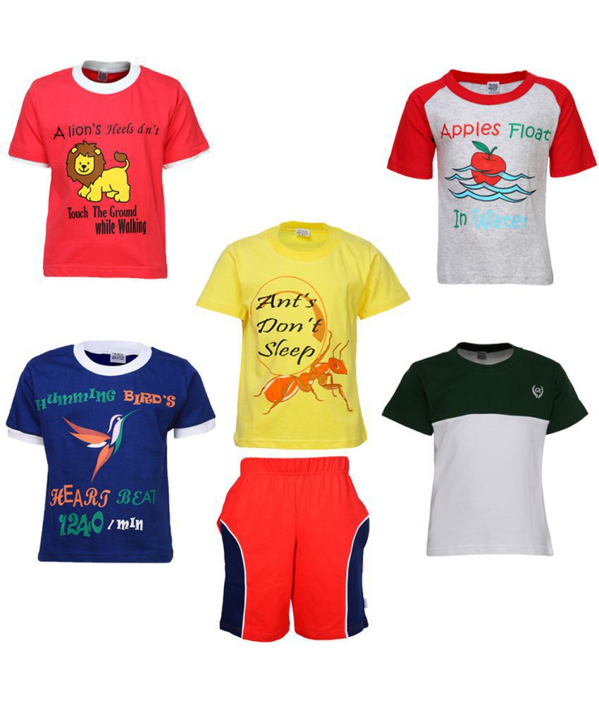 Gkidz Boys Pack of 5 Half Sleeve T-shirts and Bermudas