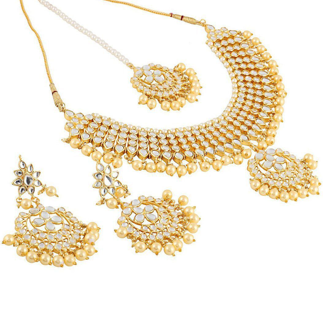 7f7711a17445f I Jewels Traditional Kundan & Pearl Choker Necklace Set For Women (K7058W)