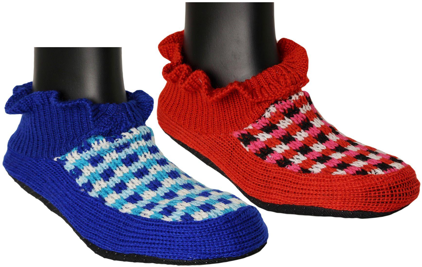 Neska Moda Premium Soft Cotton Women's  Red and Blue Booties Cum Indoor Slippers