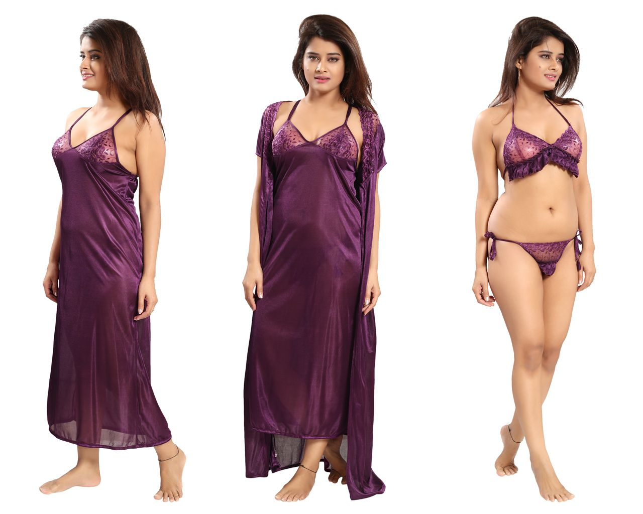 3ab1f50bad Buy Reposey Satin Night Dress - Purple Online at Best Prices in India -  Snapdeal