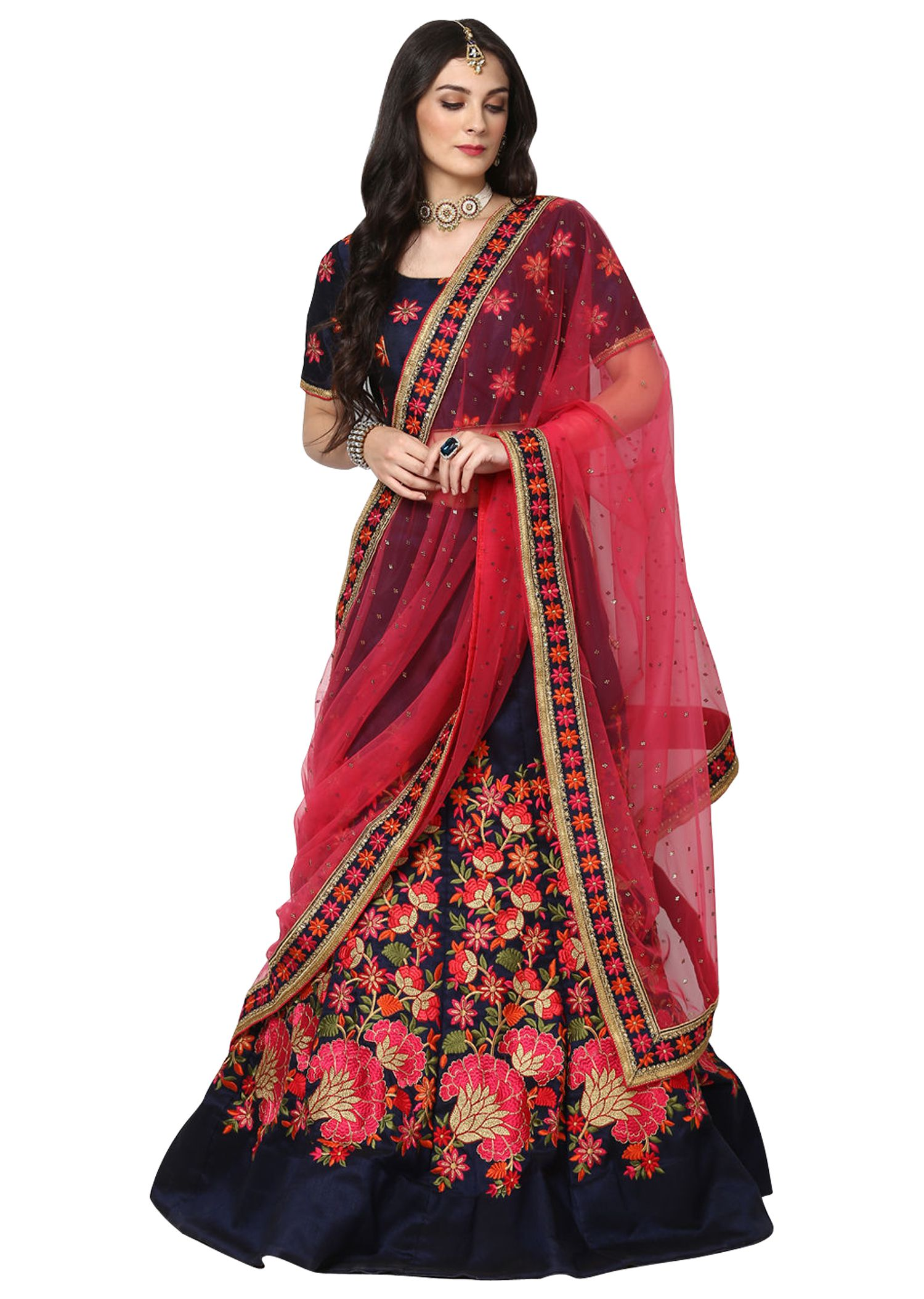 ff9e70a680 Fabron Red and Black Raw Silk A-line Semi Stitched Lehenga - Buy Fabron Red  and Black Raw Silk A-line Semi Stitched Lehenga Online at Best Prices in  India ...