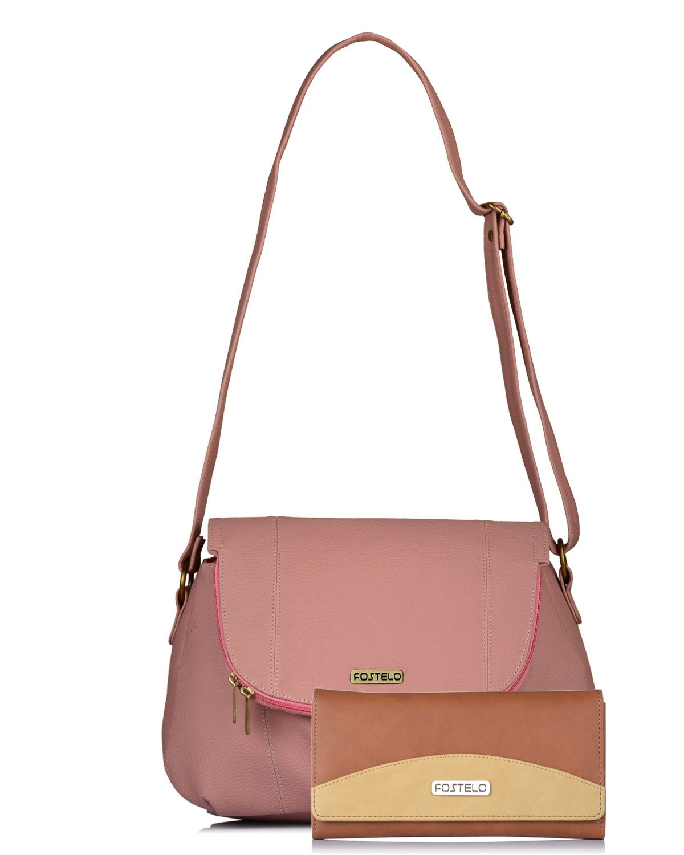 Fostelo Light Pink P.U. Shoulder Bag