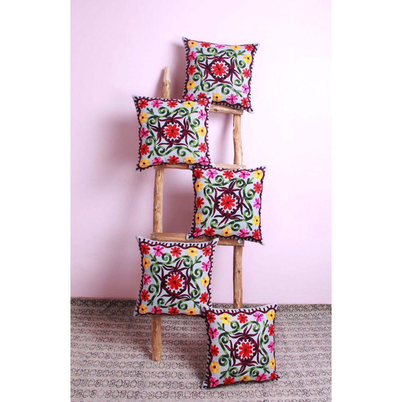 Jaipur Textile Hub Set of 5 Velvet Cushion Covers 40X40 cm (16X16)
