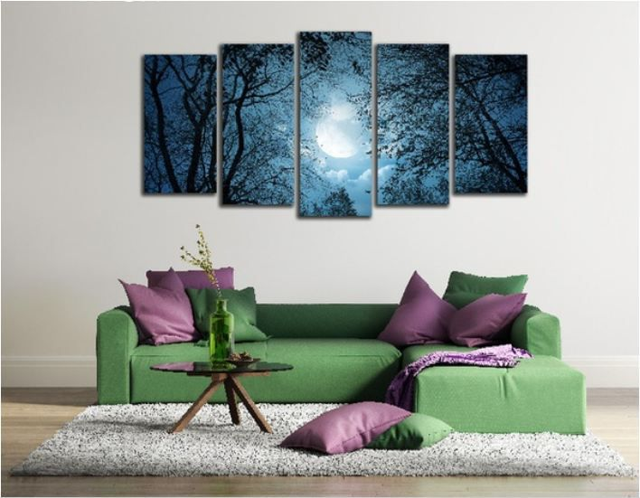 Forest Moon Bird Tree Digital Canvas Printing without Frame AHDCP-x06