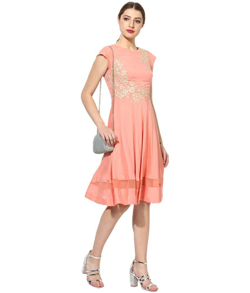 SOIE Cotton Pink A- line Dress