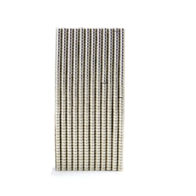 500 Pieces of 2mm x 1mm Neodymium Magnets - Disc / Cylindrical magnets -  N52 Rare Earth NdfeB