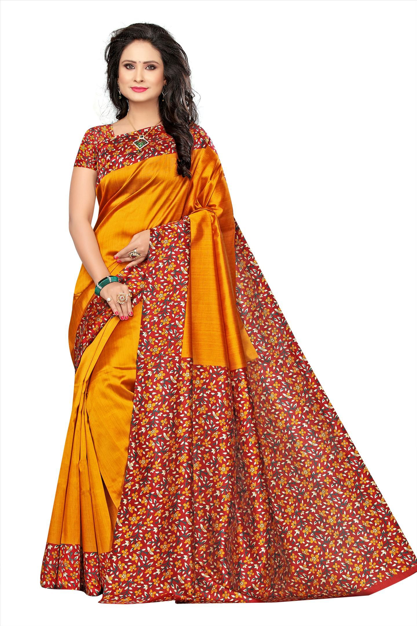 Hari Villa Creation Yellow Cotton Silk Saree