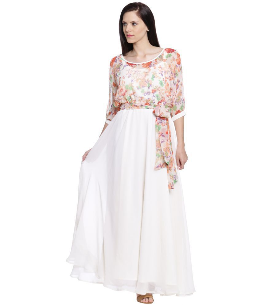1527ab519fd Just Wow Georgette White Fit And Flare Dress - Buy Just Wow Georgette White  Fit And Flare Dress Online at Best Prices in India on Snapdeal