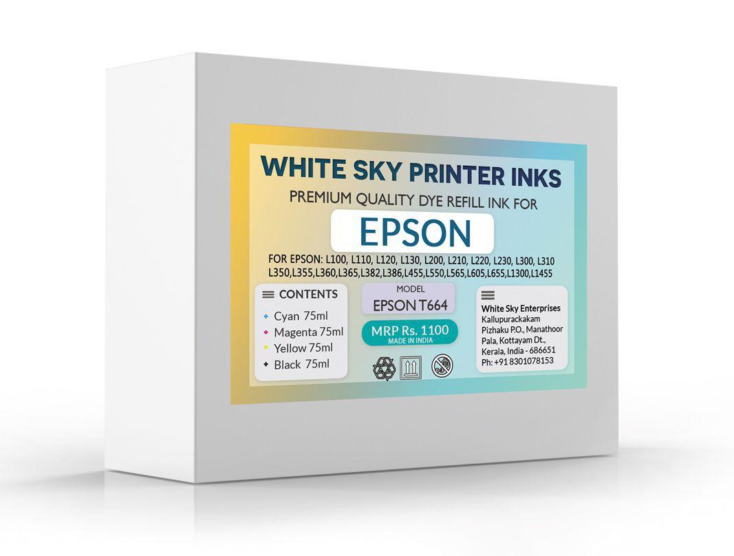 White Sky Epson L1300 Refill CMYK Combo Pack Ink Pack of 4 - Buy
