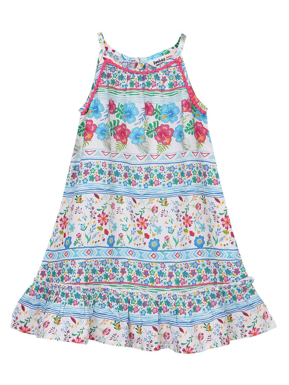 37ed4ca2e Floral Print Dress with Pompom Lace Trim Multi-col 2Y - Buy Floral ...