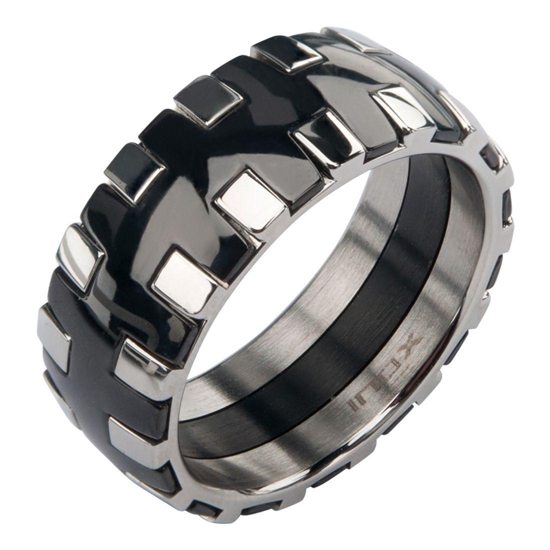 Inox Jewelry Black and Silver Stainless Steel Interlock Pattern Ring