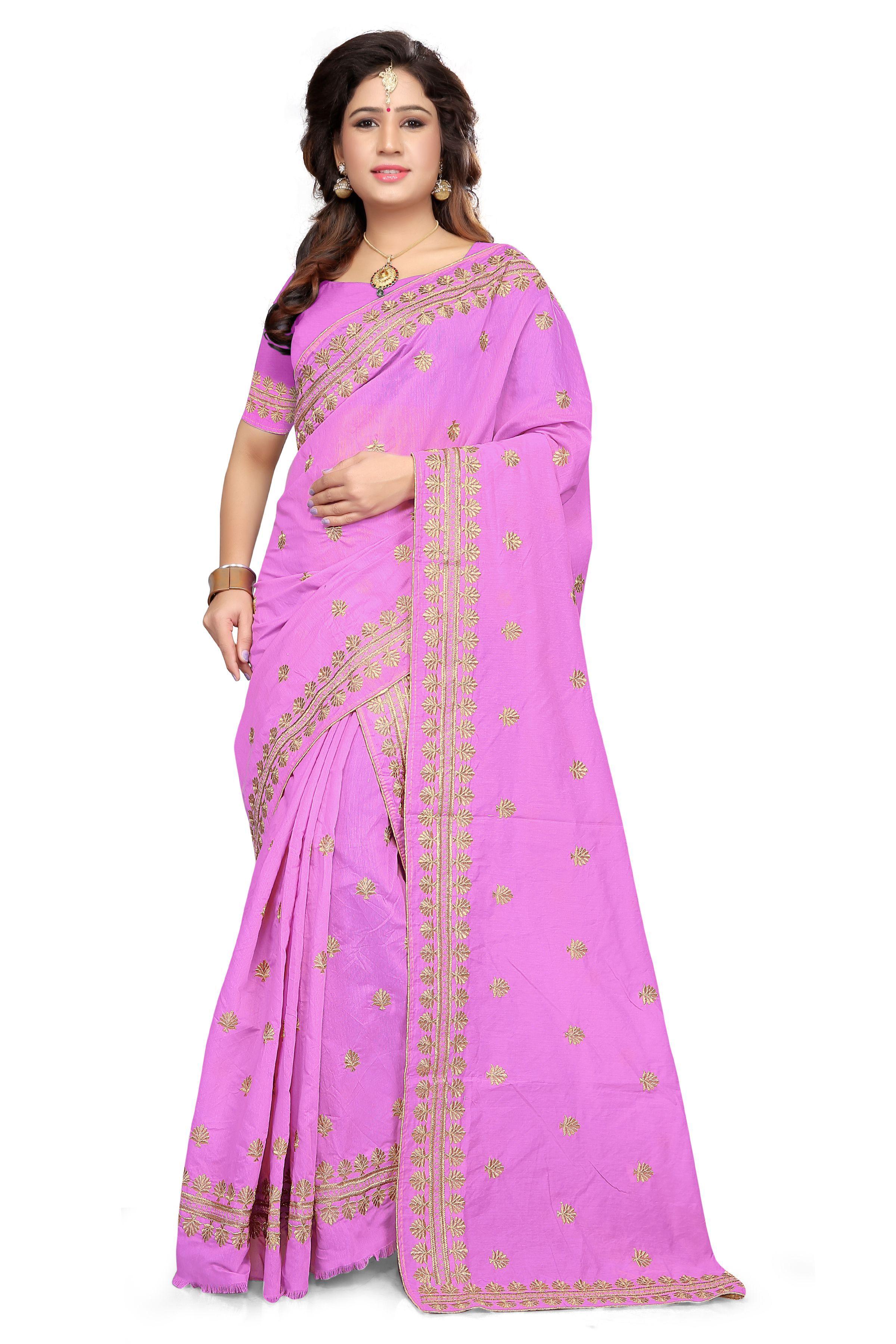 S. Kiran's Purple Cotton Poly Mekhla Chador Saree