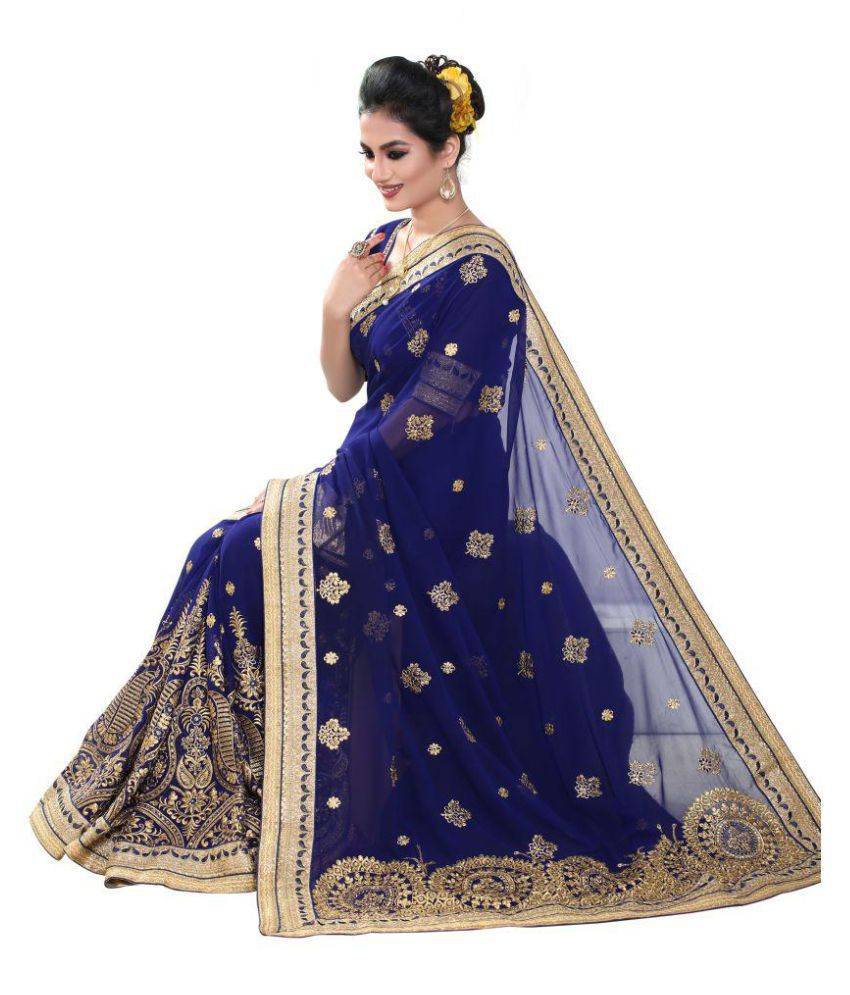 2493a091cfadc3 Geet Fashion Solution Blue and Grey Georgette Saree - Buy Geet ...