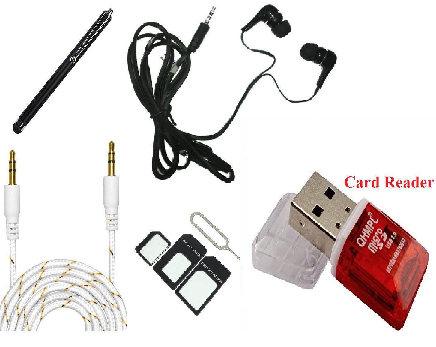 Lenovo Zuk Z2 Accessories Combo,VinyakMobile Earphone, Aux Cable, Stylus  Pen, Card Reader, Sim Adapter, For - Lenovo Zuk Z2