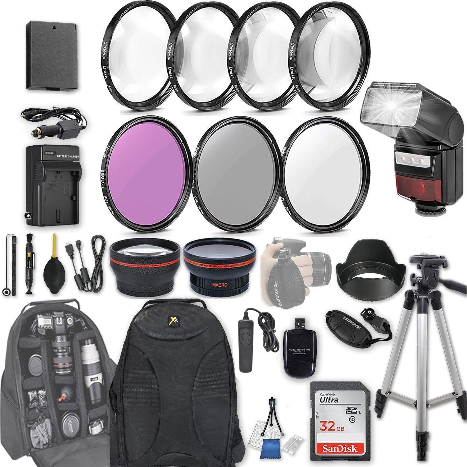 58mm 28 Pc Accessory Kit For Canon Eos Rebel T6 T5 T3