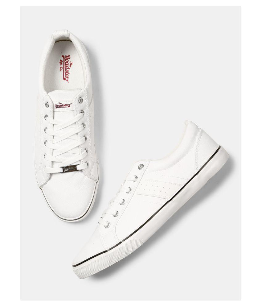 Buy Roadster Men Solid Sneakers White