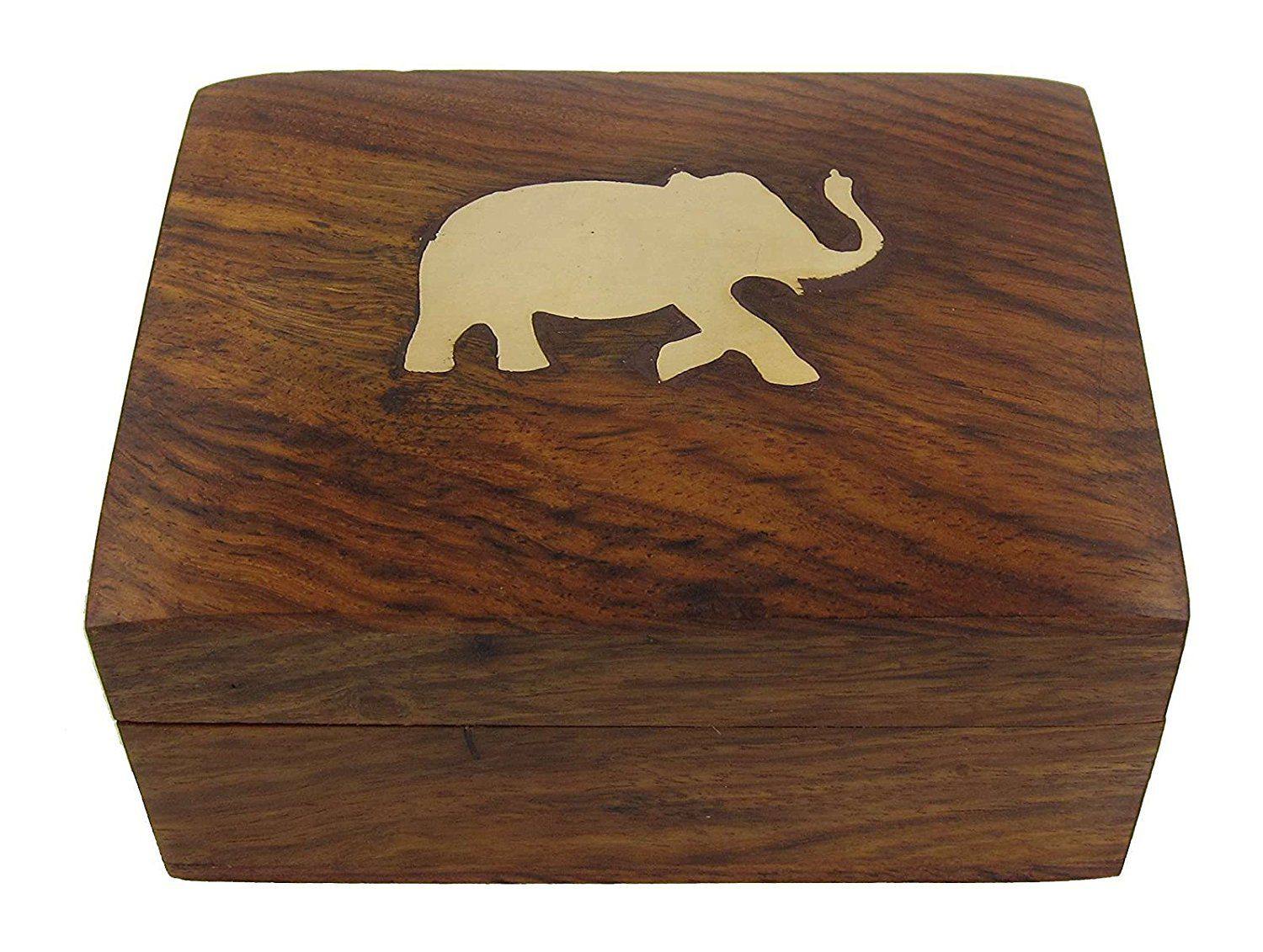 Wooden Handmade Ring, Earring Box for Wedding Gift Item - Small Jewel Organizer - 4 * 3 Inches - Brass Elephant on Top