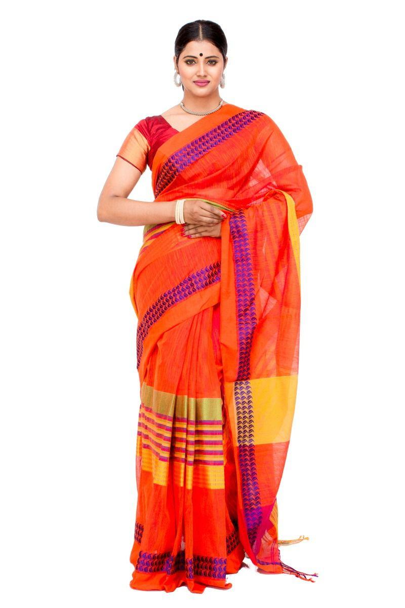 Samriddhi Orange Cotton Silk Saree