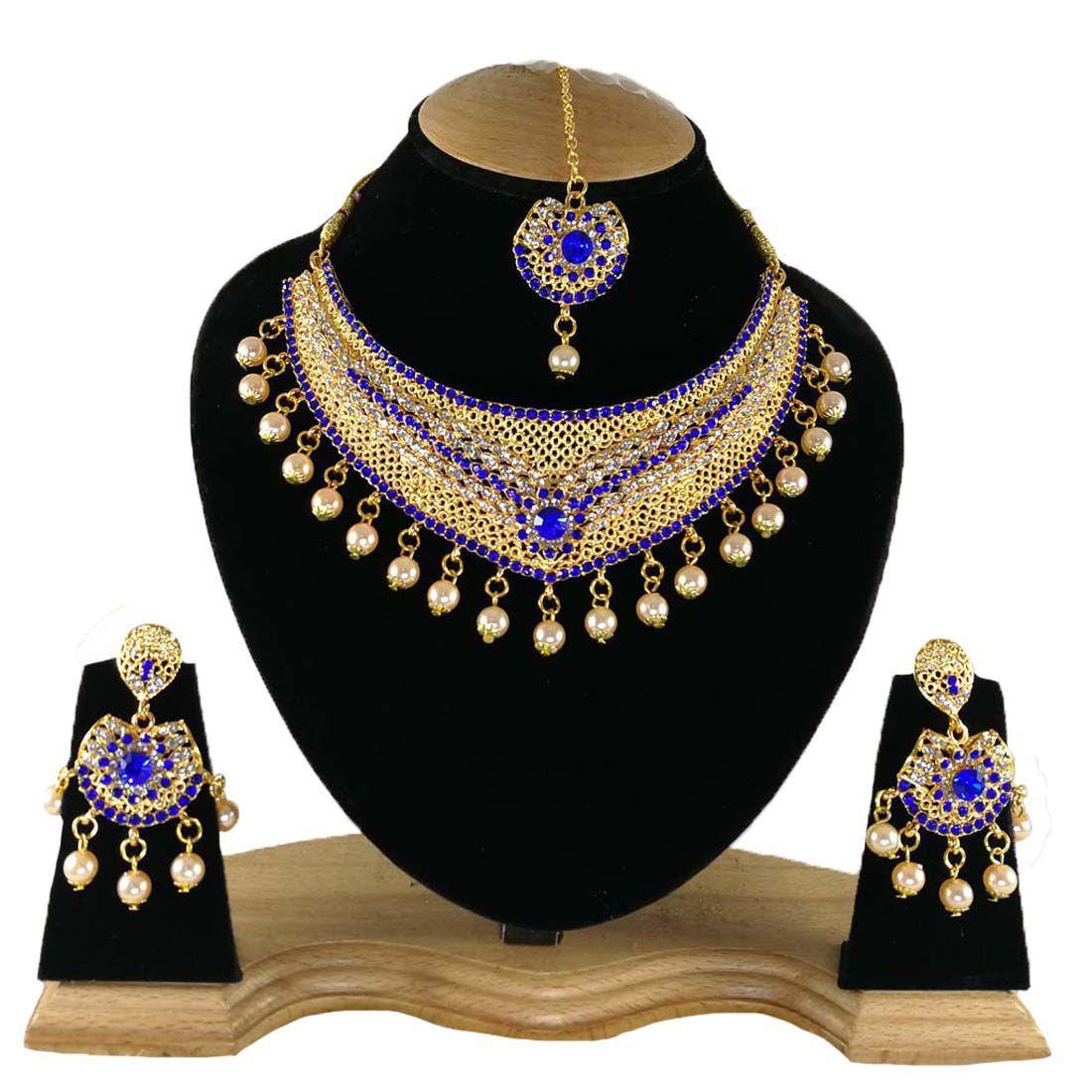 Finekraft Kundan Zicon Wedding Designer Necklce Jewelry Set