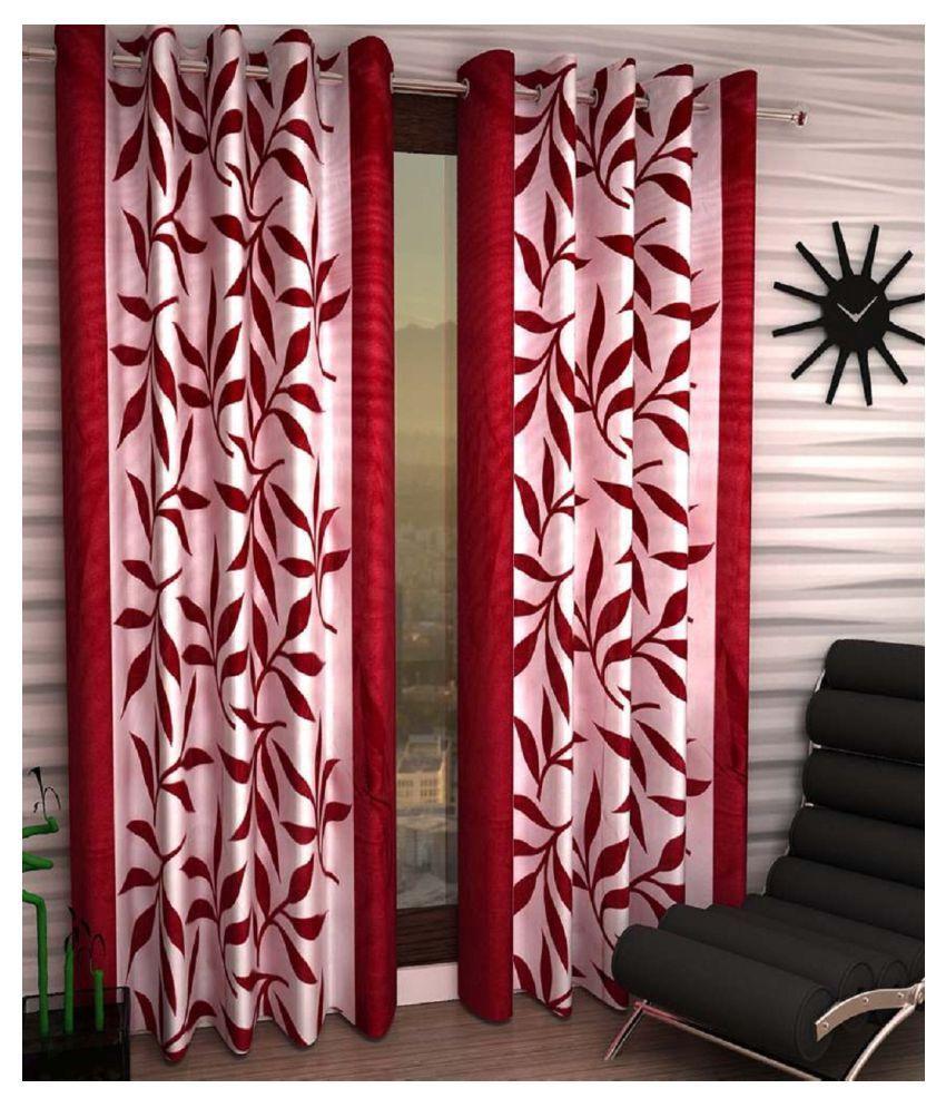 Geonature Set of 2 Door Eyelet Curtains Floral Maroon