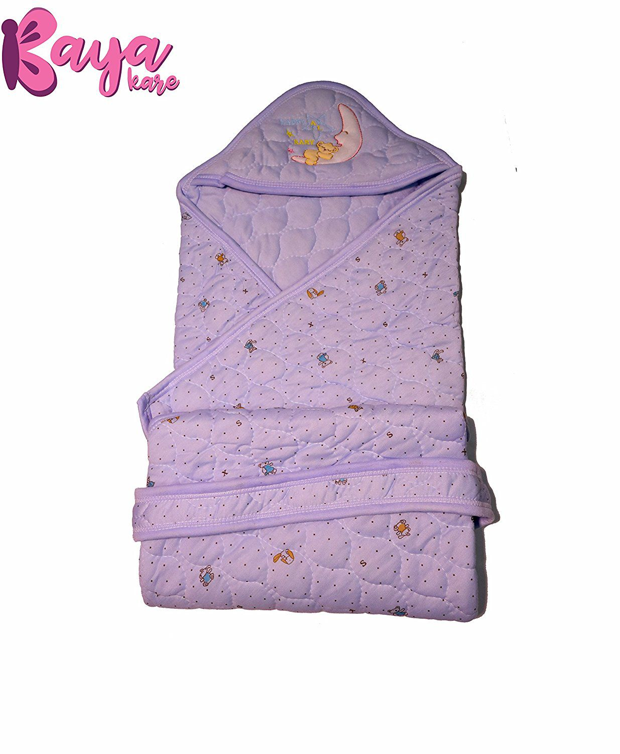 Kayakare Purple Cotton Baby Wrap cum blanket ( 43 cm × 15 cm - 1 pcs)
