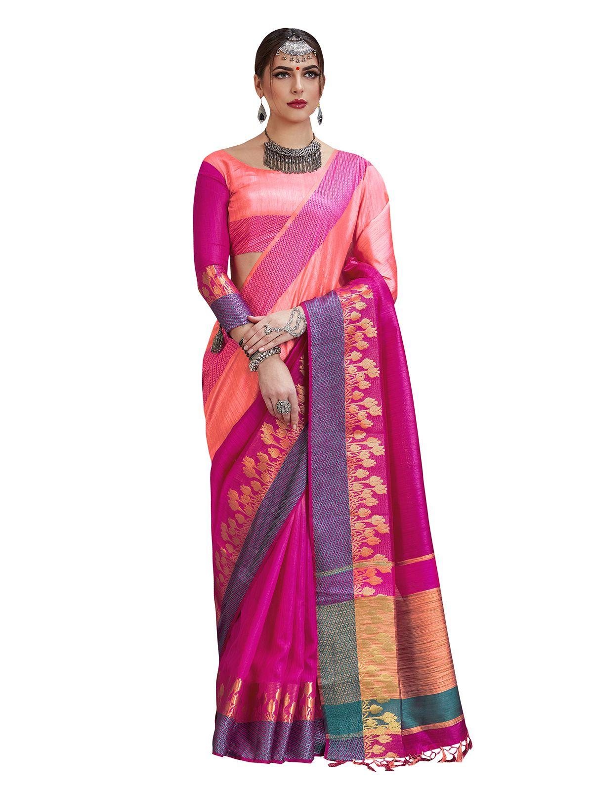 Saree Mall Pink and Purple Silk Blends Saree