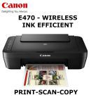 Canon Pixma E470 Multi Function (Print, Scan And Copy) Wireless Ink efficient Inkjet Printer