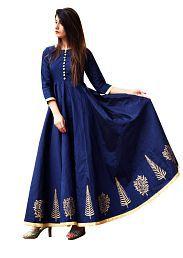 New Designer Navy Crepe Anarkali Gown Semi-Stitched Suit