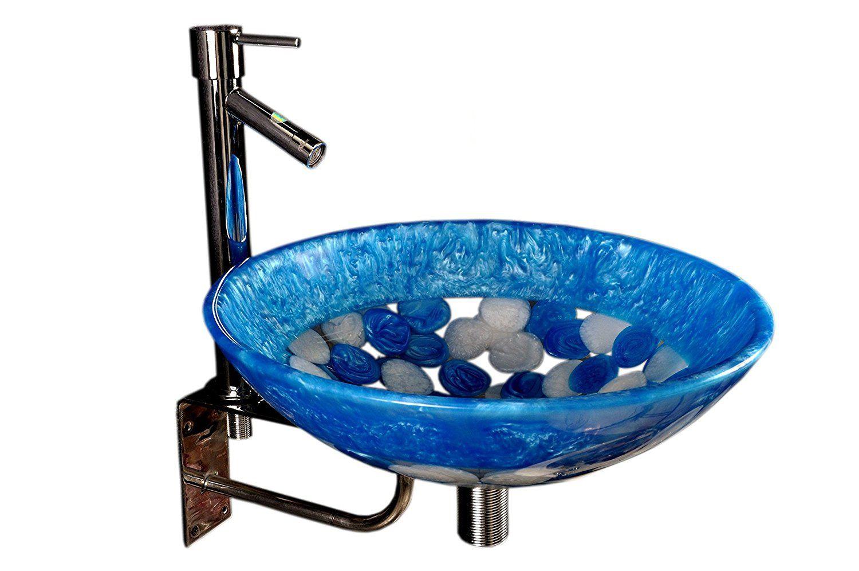 Arista Blue Vinyl/Acrylic Over Counter Wash Basins (L*B*H in CM):39*39*15