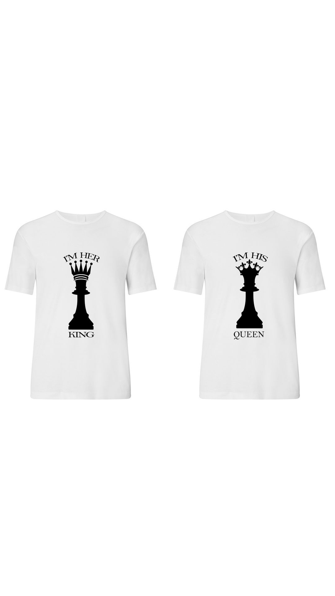 b5b966f38e RITZEES White Dry Fit Polyester Couple Combo T-Shirt On I m Her king, I m  His Queen - Buy RITZEES White Dry Fit Polyester Couple Combo T-Shirt On I m  Her ...