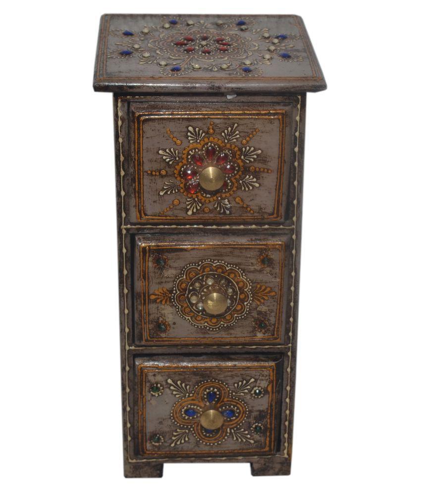 Shree Majisa Handicraft Wooden Multicolor Hand Painted 3 Drawer Box