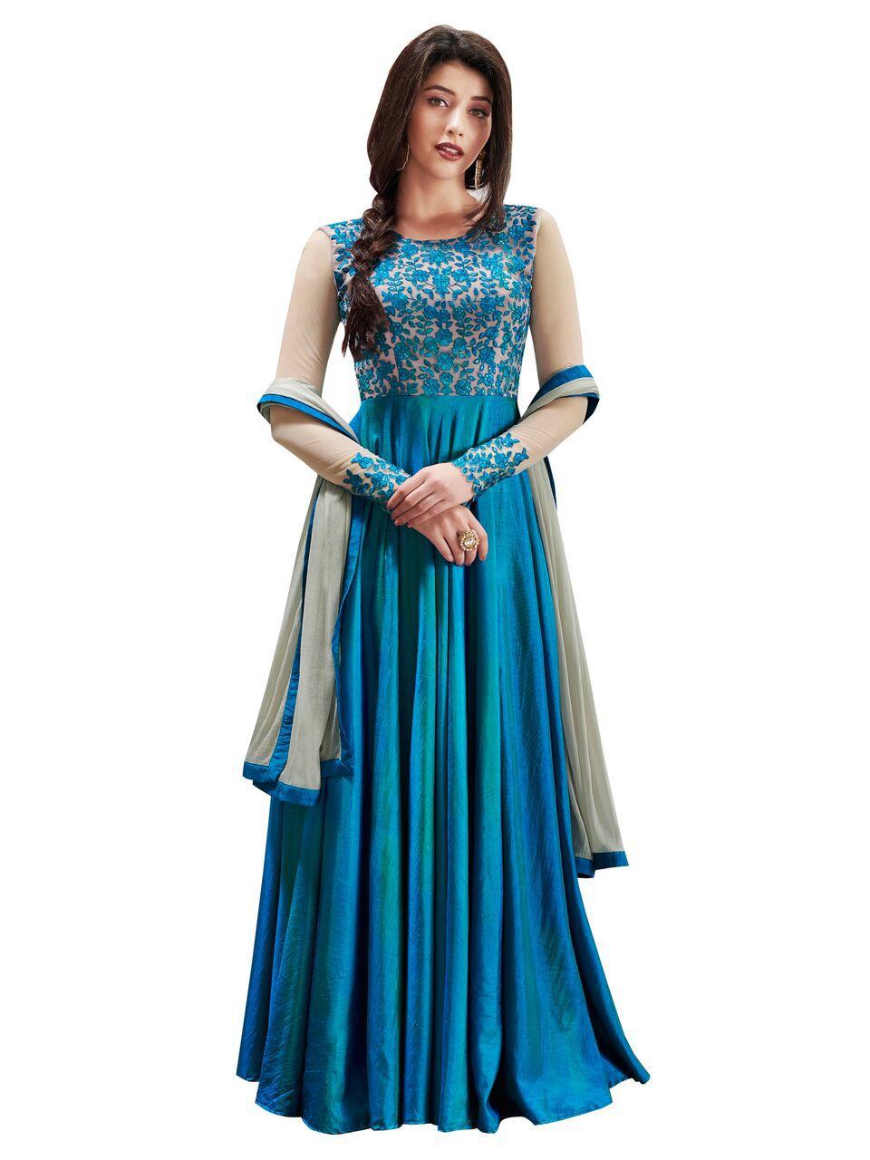DEVAL CREATION Blue and Grey Silk Anarkali Semi-Stitched Suit
