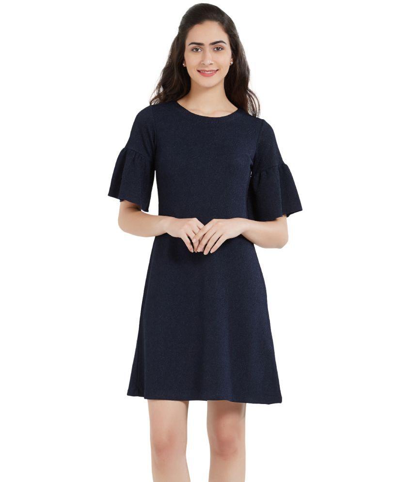 SOIE Polyester Navy A- line Dress