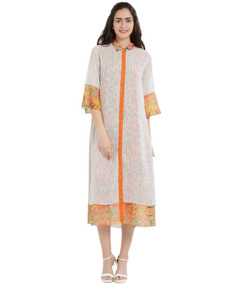 SOIE Polyester Off White A- line Dress