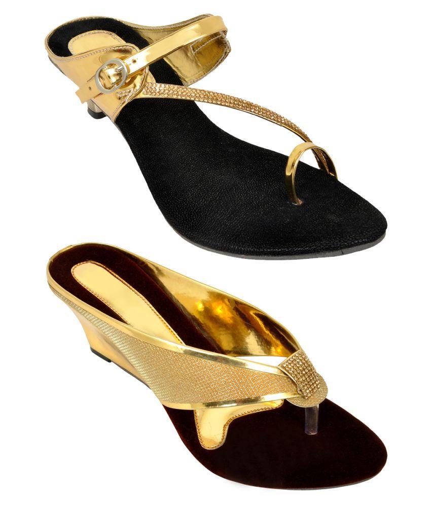 Altek Gold Kitten Heels