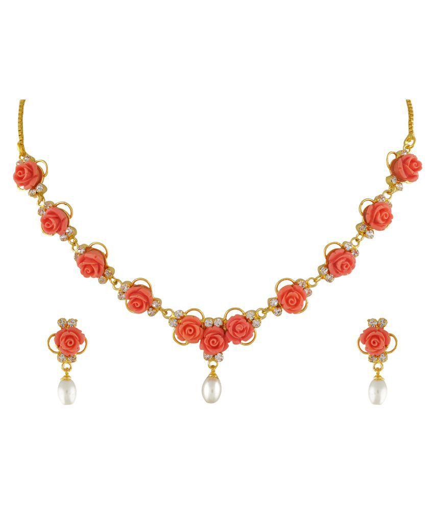 ClassiqueDesigner Jewellery Orange Color Flower Necklace Set