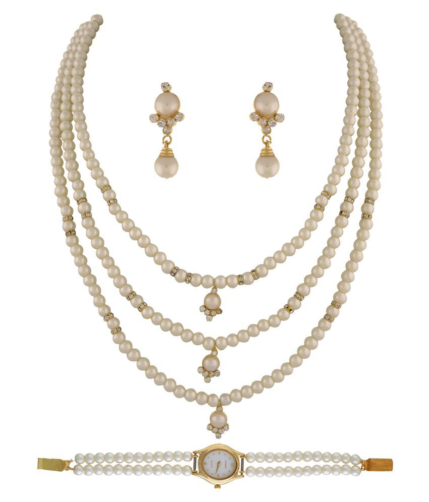 ClassiqueDesigner Jewellery Pearl Set with Pearl Watch