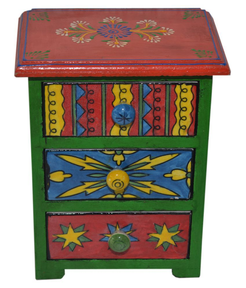 Wooden Multicolor Hand Painted 3 Drawer Box Vertical