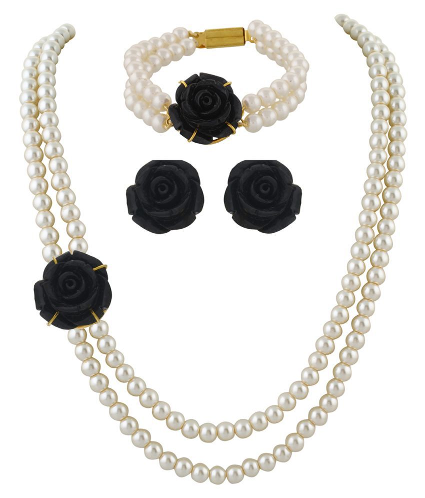 ClassiqueDesigner Jewellery Black Rose Pearl Set with Bracelet