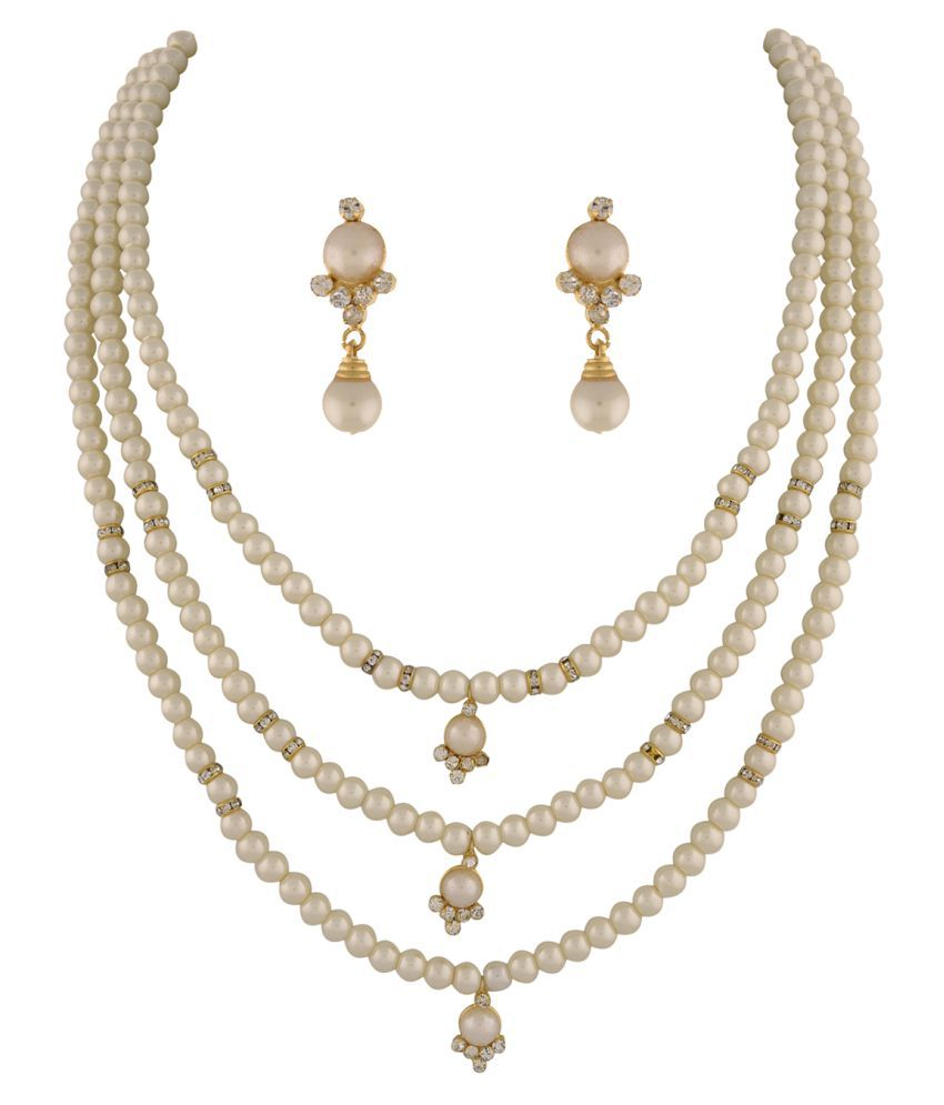 ClassiqueDesigner Jewellery Three Layer Beautiful Pearl Set