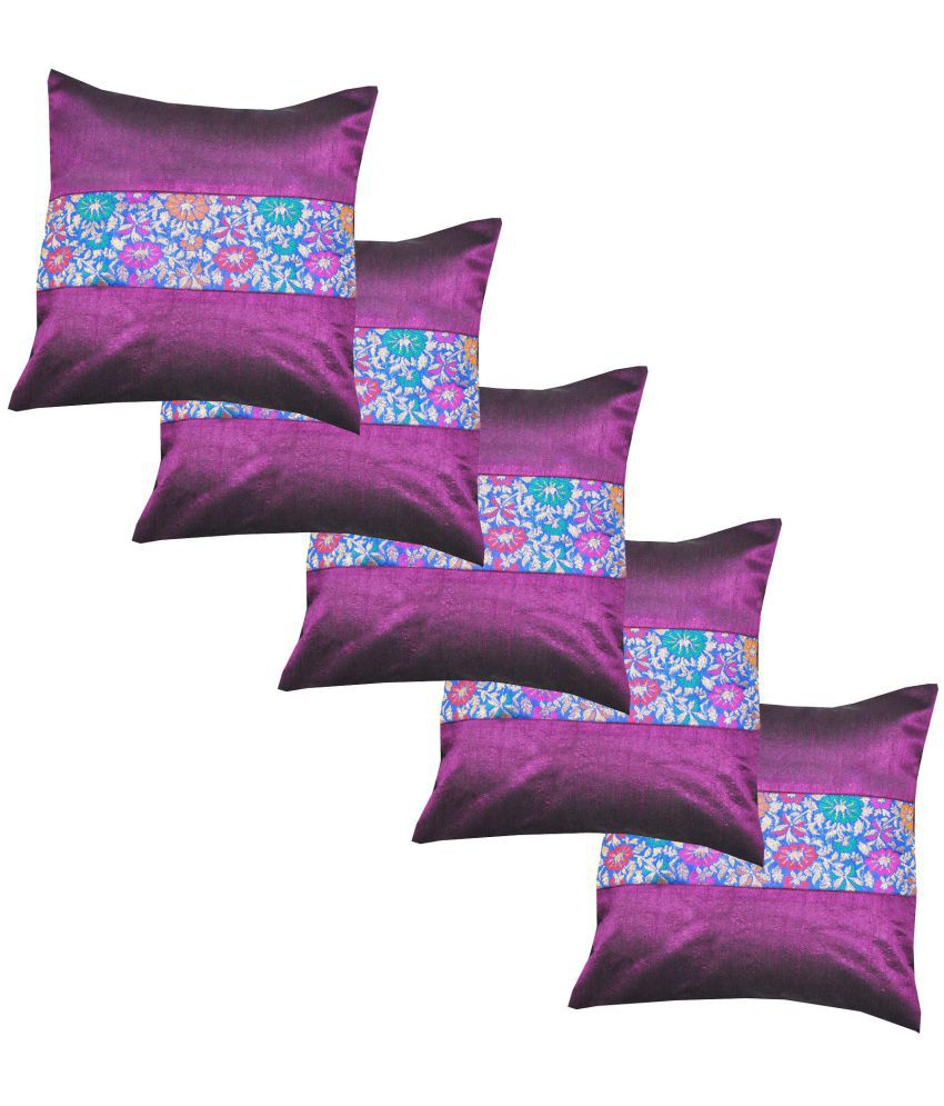 PINK PARROT Set of 5 Silk Cushion Covers 40X40 cm (16X16)