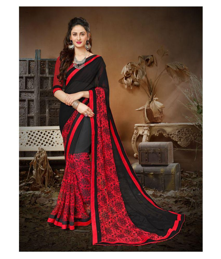Sutram Red and Brown Georgette Saree