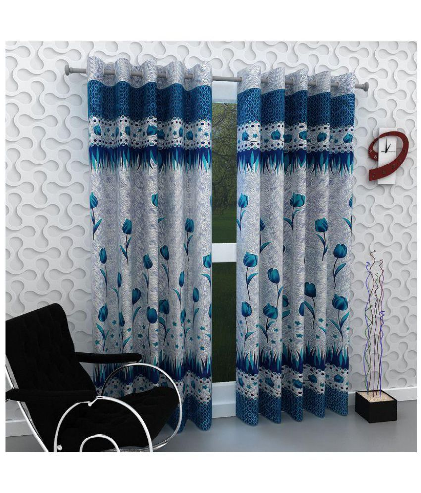 Geonature Set of 2 Door Eyelet Curtains Floral Blue