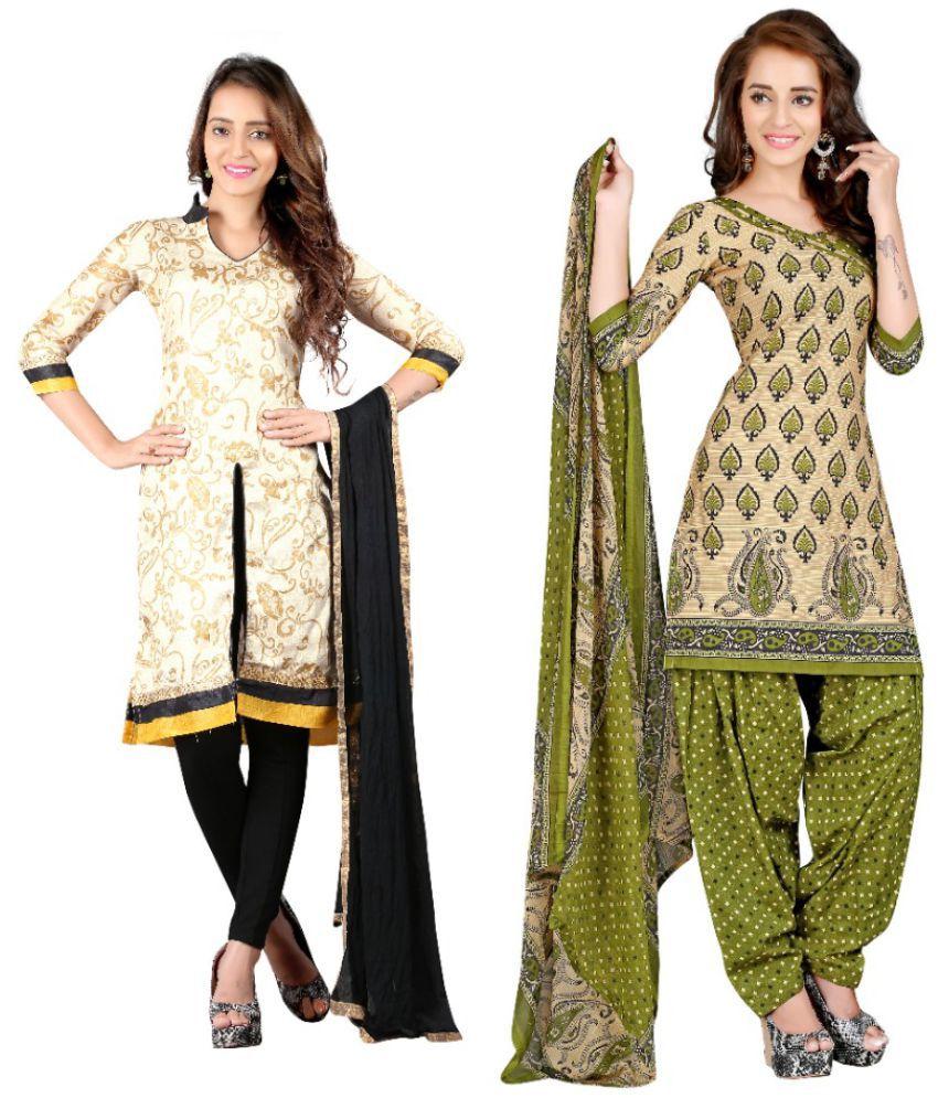 BanoRani Multicoloured Georgette Dress Material